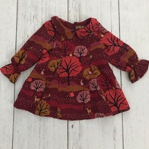 OshKosh maroon woodland dress • 12 months